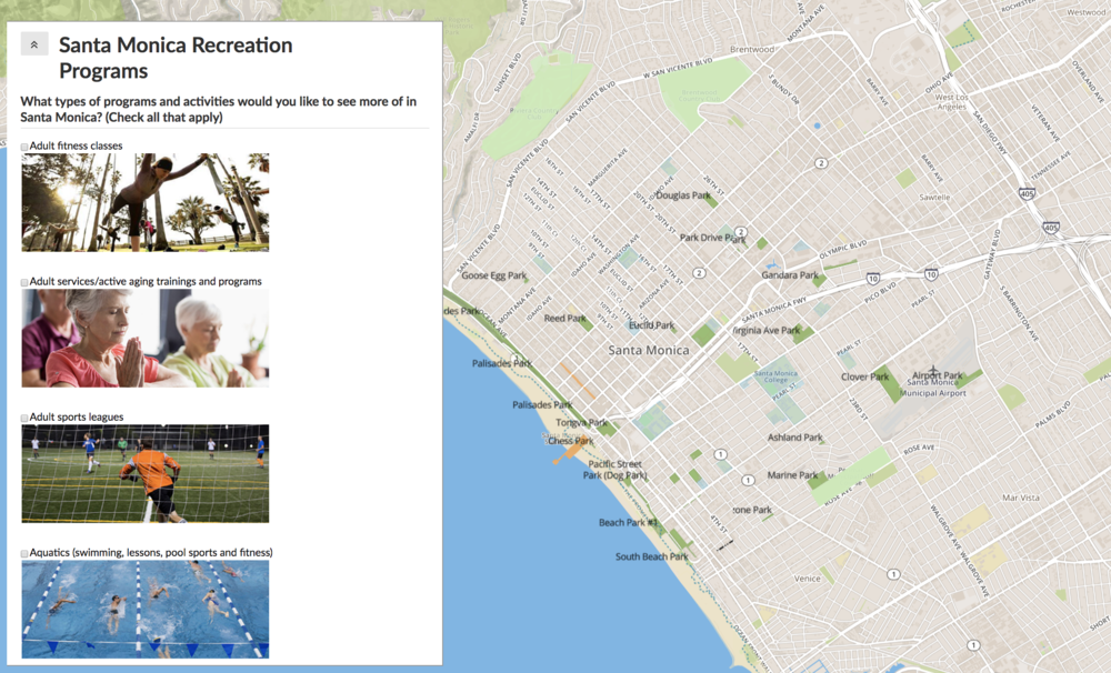 A snapshot of a Maptionnaire survey done by the city of Santa Monica. The clever use of images in a survey sparks interest in the project and supports branding.