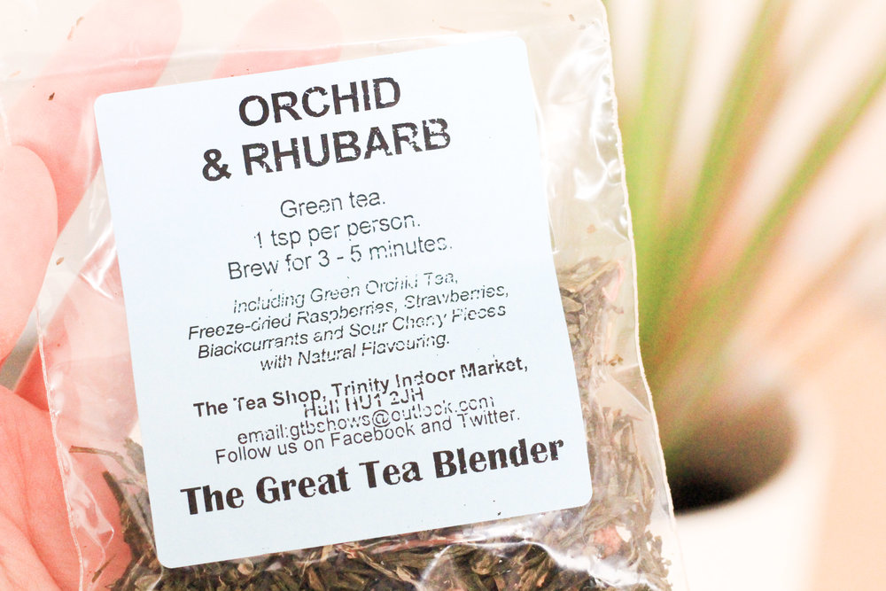 The Tea Room Hull Orchid and Rhubarb Packet