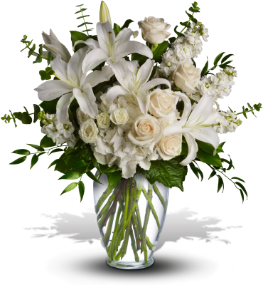 Dreams from the Heart    The lush arrangement of soft colors, this gorgeous bouquet overflows with white hydrangea, crme roses, white spray roses, white oriental lilies, white stock, spiral eucalyptus, salal and Italian ruscus in a classic glass vase.    Buy Now>>