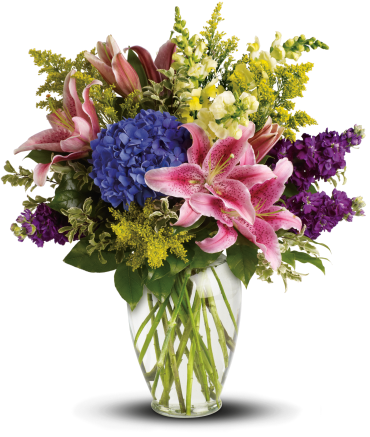 Love Everlasting    This lovely bouquet of pink lilies, blue hydrangea and other floral favorites is an eloquent expression of caring. The stunning bouquet includes blue hydrangea, pink oriental lilies, yellow snapdragons and purple stock, accented with assorted greenery.    Buy Now>>