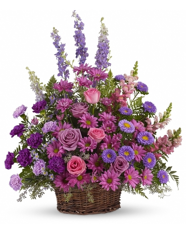 Gracious Lavender Basket    Soothing lavender, respectful purple and compassionate pinks are combined beautifully in this basket overflowing with pretty flowers, sincerity and sympathy. A profusion of purple, pink and lavender blooms such as roses, carnations, larkspur, matsumoto and monte cassino asters and much more are delivered in a round wicker basket.    Buy Now>>