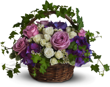 A Full Life    Lush flowers to celebrate a full life. This beautiful basket of flowers for a funeral or home evokes the natural beauty of life with purple hydrangeas, lavender and white roses and winding green ivy.    Buy Now>>