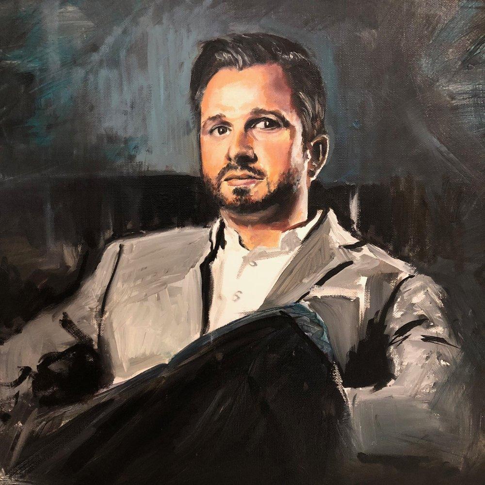 Portrait of the Art Dealer, Oil on Canvas, by Joe Everson