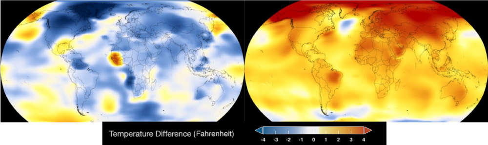 Average global temperatures in 1884 (left) vs 2017 (right). Credit: NASA