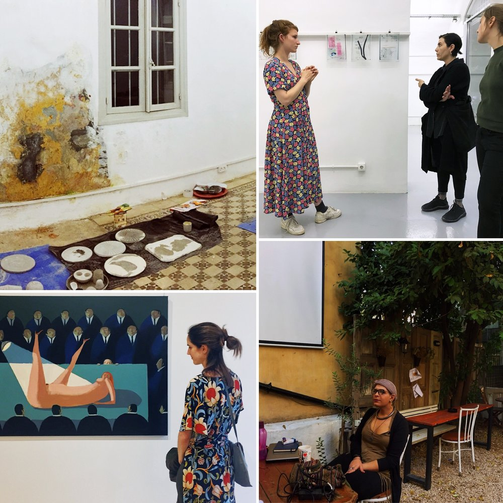 Top LEFT: The studio with work from our upcoming intervention CONTRADINE;  TOP RIGHT: Regina attending an exhibition walk-through with Elisabeth Kraus, another artist-in-residence, at 392rmeil393 Gallery;  BOTTOM LEFT: Lara visits ARTLAB Gallery to see Annie Kurkdjian's work for a write-up in Art and Cake. Please find the article at  artandcakela.com/2018/10/29/annie-kurkdjian-at-art-lab-lebanon/ ;  BOTTOM RIGHT: The outdoor café where we spend our mornings at Haven (our flatmate Leah is on the left with one of her Arabic-language students).