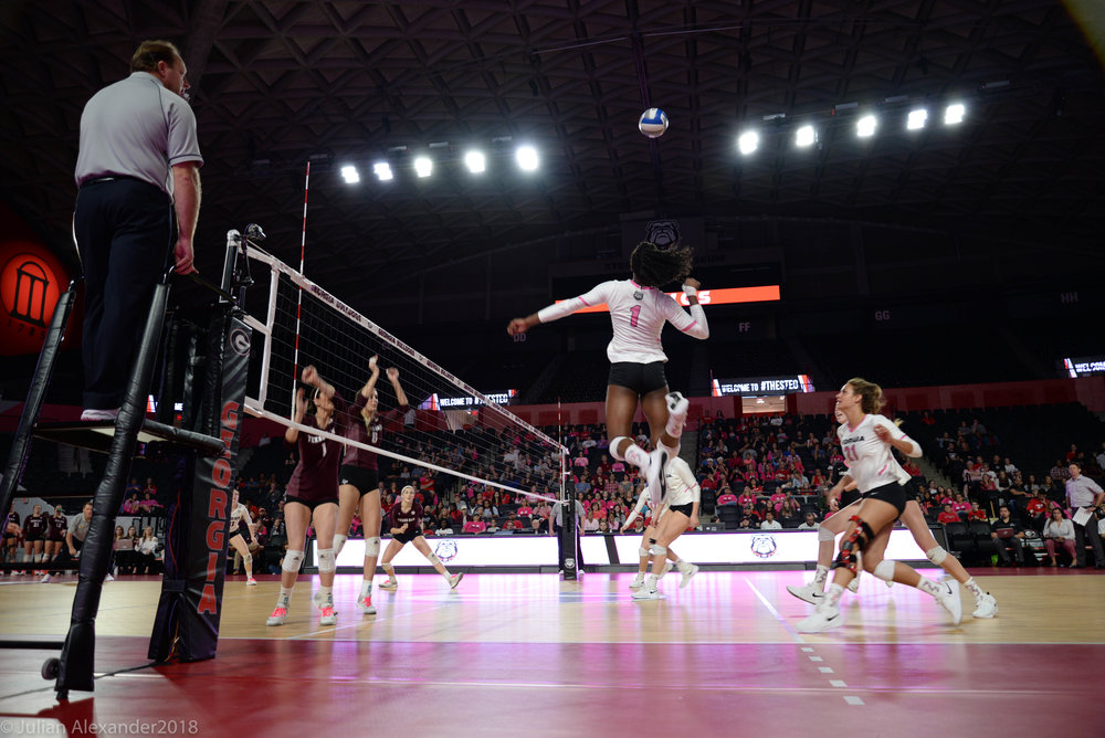 Georgia outside hitter T'ara Ceasar (1) jumps to spike the ball during a match against Texas A&M on Sunday, Oct. 14, 2018 at Stegeman Coliseum in Athens, Georgia . The University of Georgia Volleyball Team lost in 5 sets to Texas A&M 3-2. (Photo/Julian Alexander)