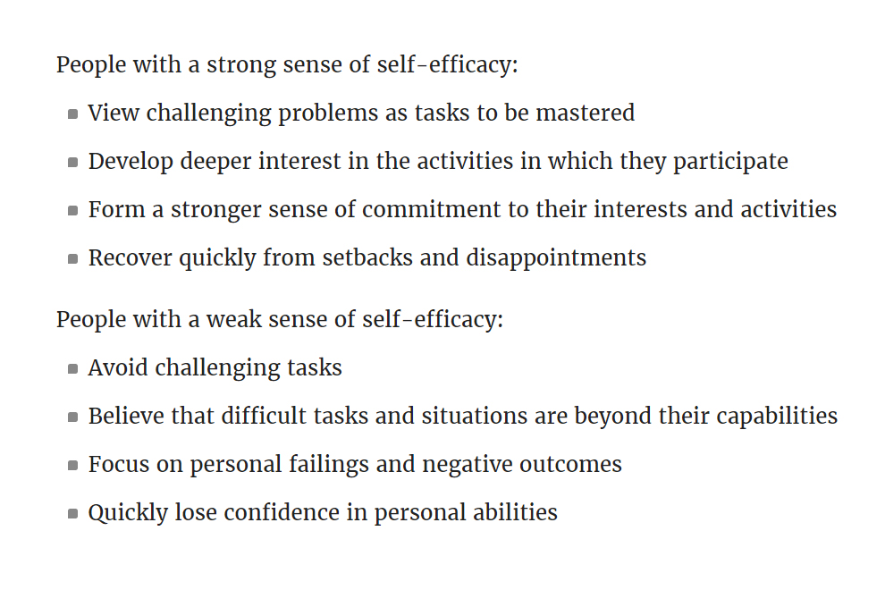 """Source: VeryWell Mind """" Self-Efficacy: Why Believing in Yourself Matters """""""
