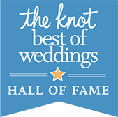 We have been awarded The Knot Best of Weddings Hall of Fame status.
