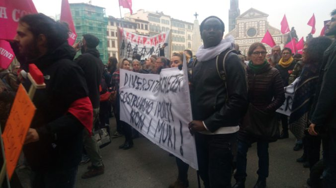 Someone Responds: Photograph taken at Florence's Anti-Racism and Solidarity March. March 5, 2018. Credit: Silvia D'Amato.