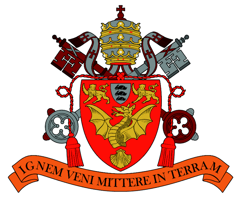 Venerable English College Arms: 'Ignem veni mittere in terram'