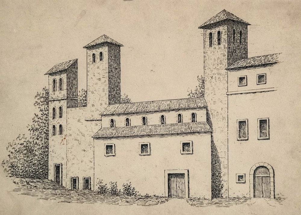 Artist's impression of the medieval buildings of the English Hospice, Rome, and the Church of the Most Holy Trinity and St Thomas of Canterbury, on the site of the present-day Venerable English College, as they would have looked in the mid-sixteenth century.