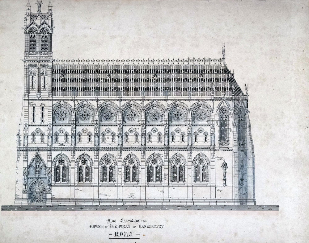 The image above, and the three images below. preserved in the Venerable English College Archives, depict the unexecuted designs of Edward Welby Pugin for the new Church of St Thomas of Canterbury, Rome, 1868.