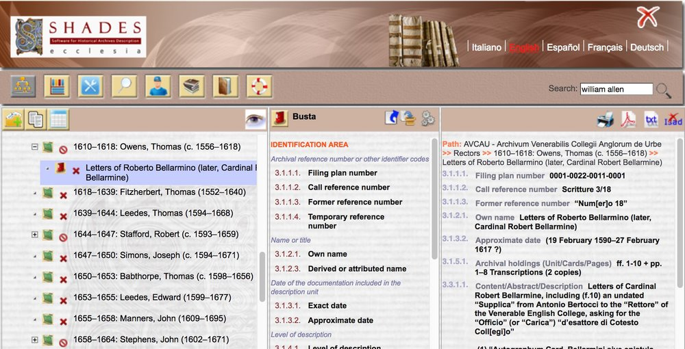 Screen-shot of a digital library catalogue