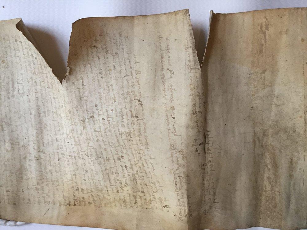 Parchment manuscript undergoing restoration work