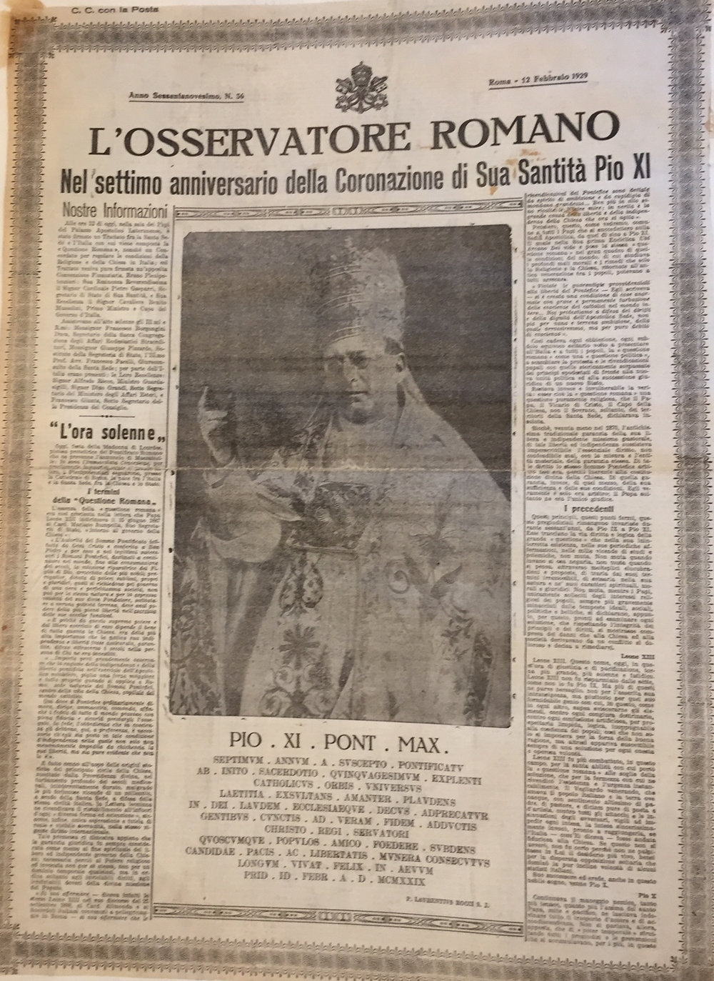 L'Osservatore Romano  for Tuesday, 12 February 1929, celebrating the seventh anniversary of Pope Pius XI   AVCAU, Newspaper collection