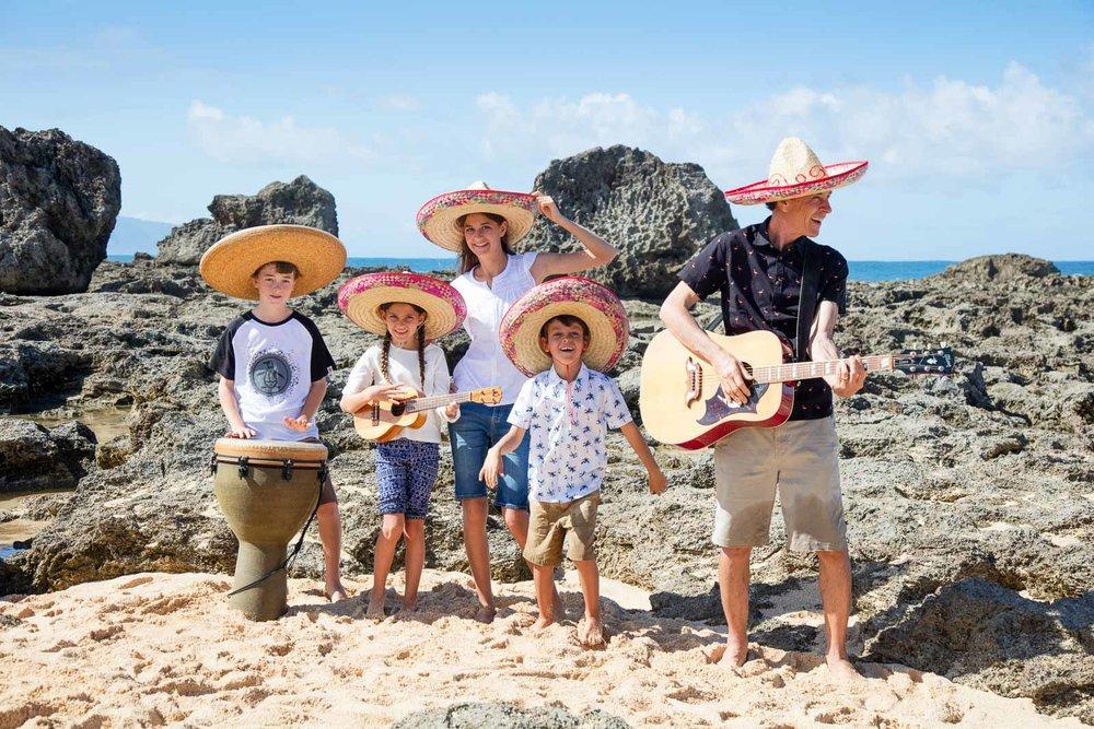 fun family beach portrait props oahu waikiki beach