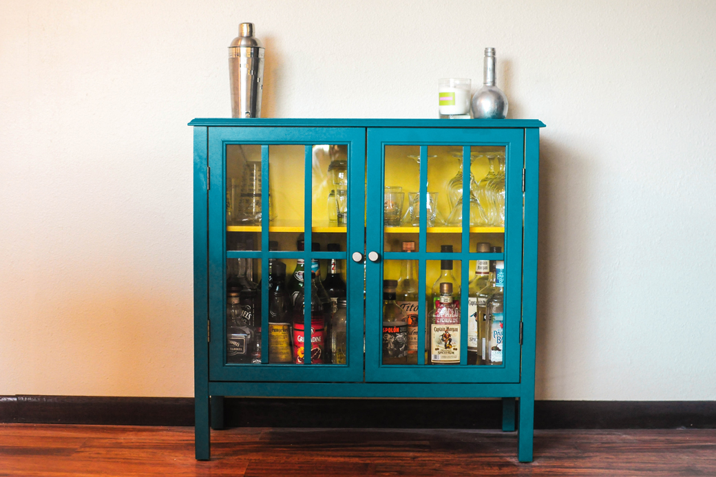 finished diy alcohol bar cart