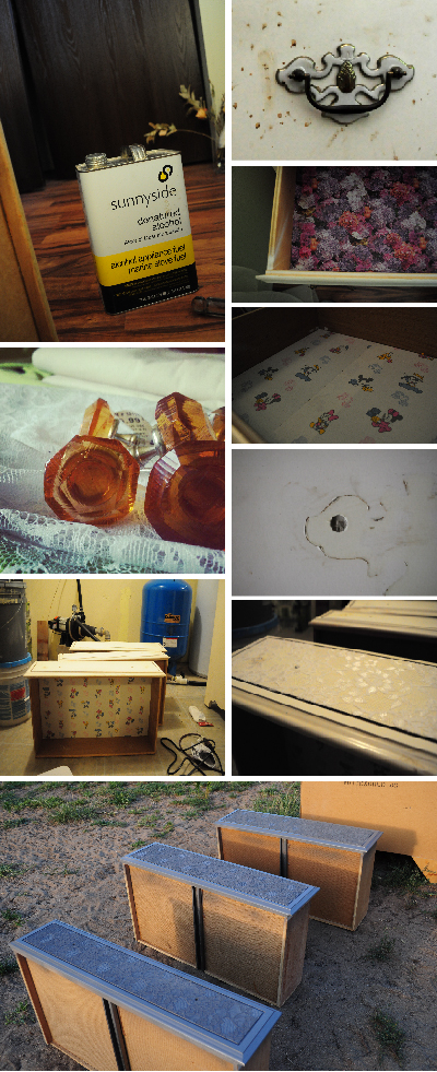 fix a retro formica dresser with spray paint and glass nobs