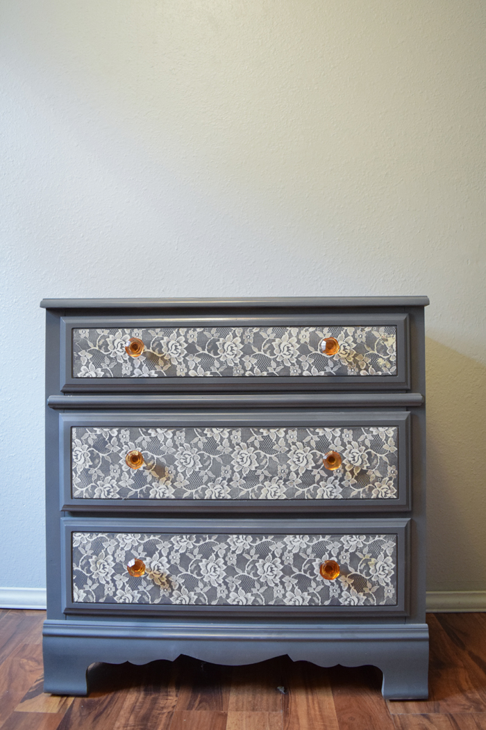 A year later I took the painted lace off the dresser
