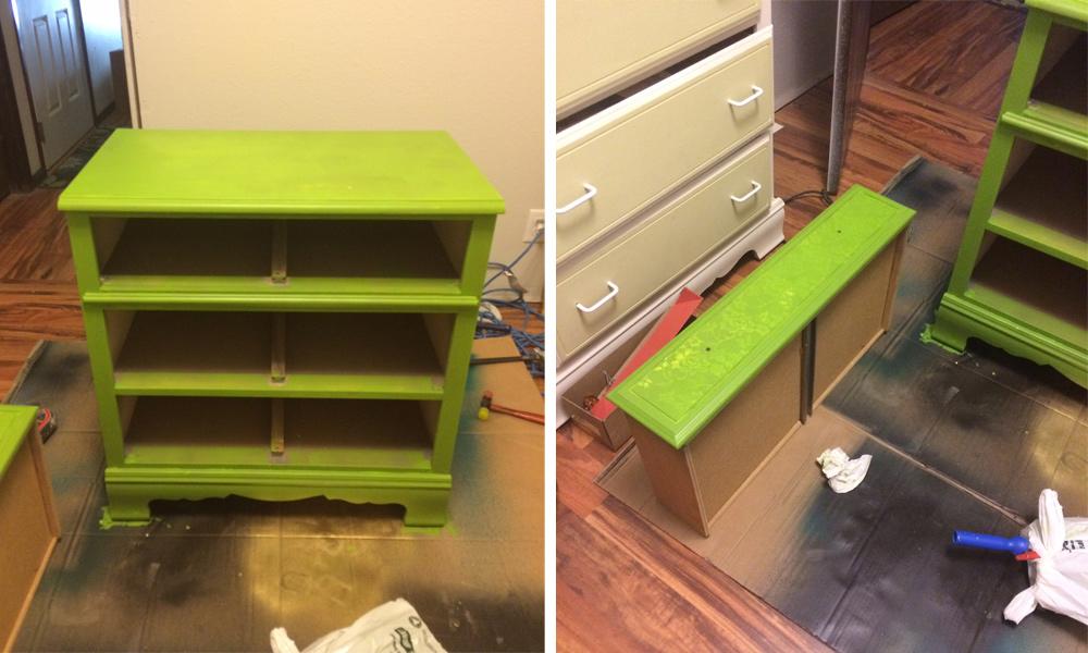 Green vibrant dresser