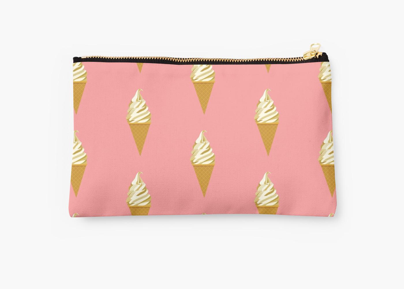 Clutch with vanilla ice cream cone pattern