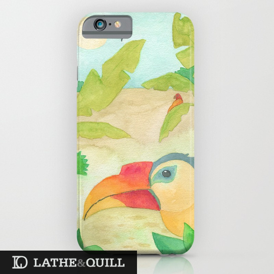 Watercolor of tropical birds on ipod case