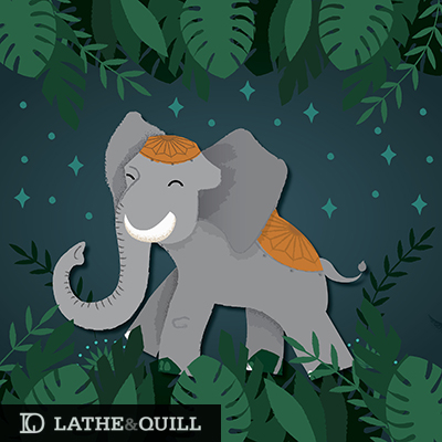 jungle leaves with an elephant enjoying a stroll at night