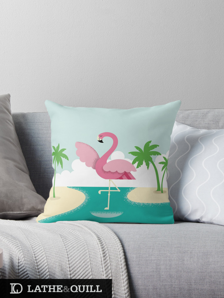 summer vibes with a flamingo standing on a beach