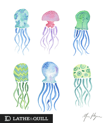 blue, green and teal illustrated jelly fish