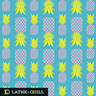Pink and yellow pineapples on blue background summery