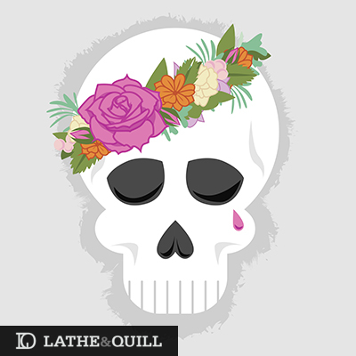 Modern Shakespeare design with skull and flower crown dis de los muertos, sugar skull