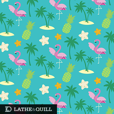 flamingo, pineapple, palm trees, star fish, ocean