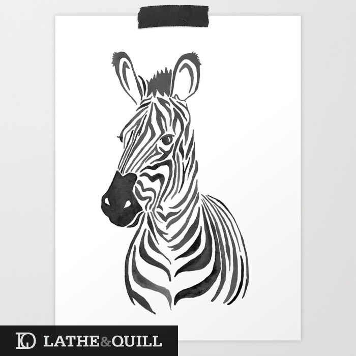 using negative space to form the zebra beautiful gradient quality to the watercolor wash