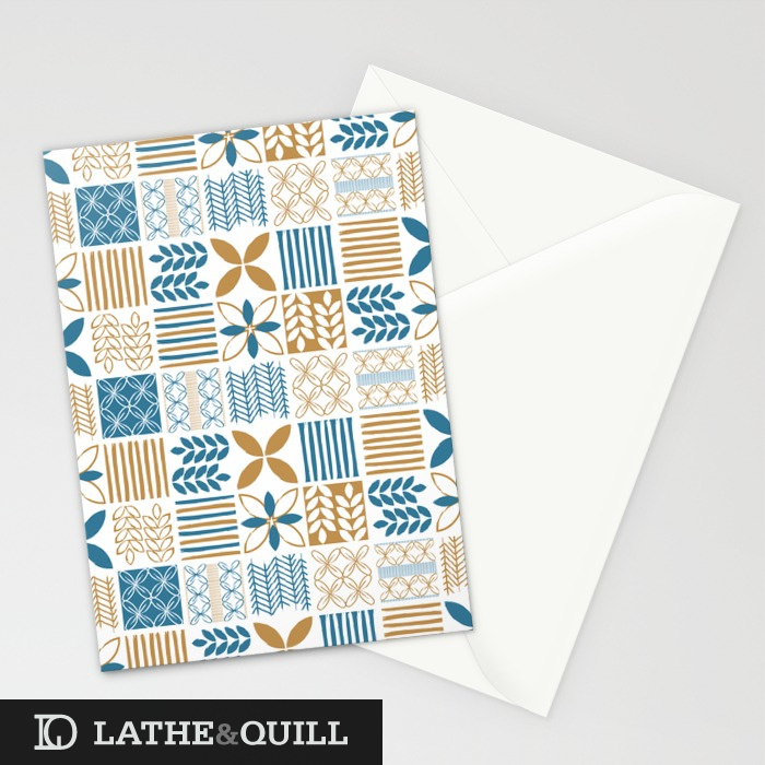Stationary Card using the modern graphic pattern in blue and gold