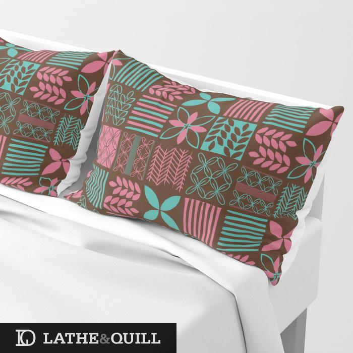 Modern tiki pattern in brown pink and cyan