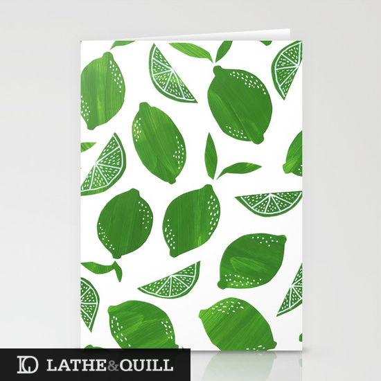 stationary card with limes in green