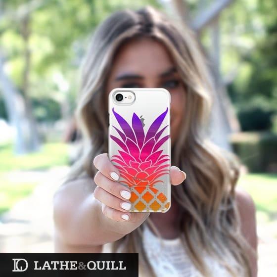 The orange base pineapple burst into pink and purple
