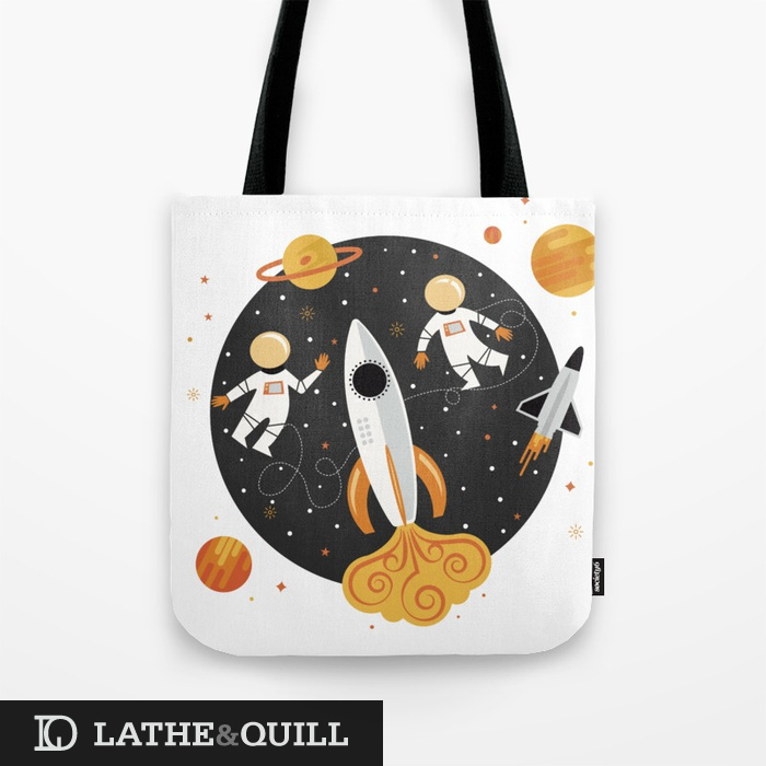 Love this science pattern in yellow and orange on the society6 tote bag