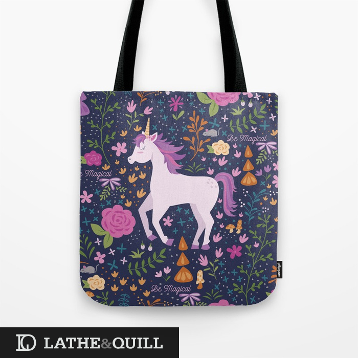 Enchanted unicorn pattern in floral garden