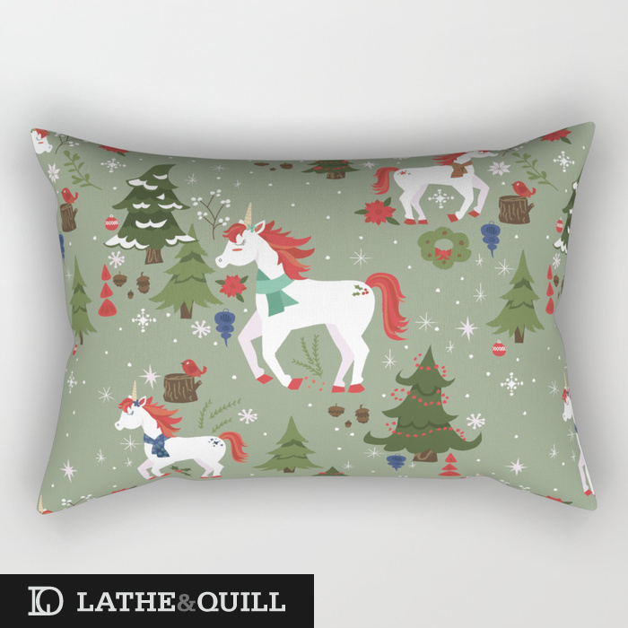 Whimsical winter pattern of unicorns in the forest