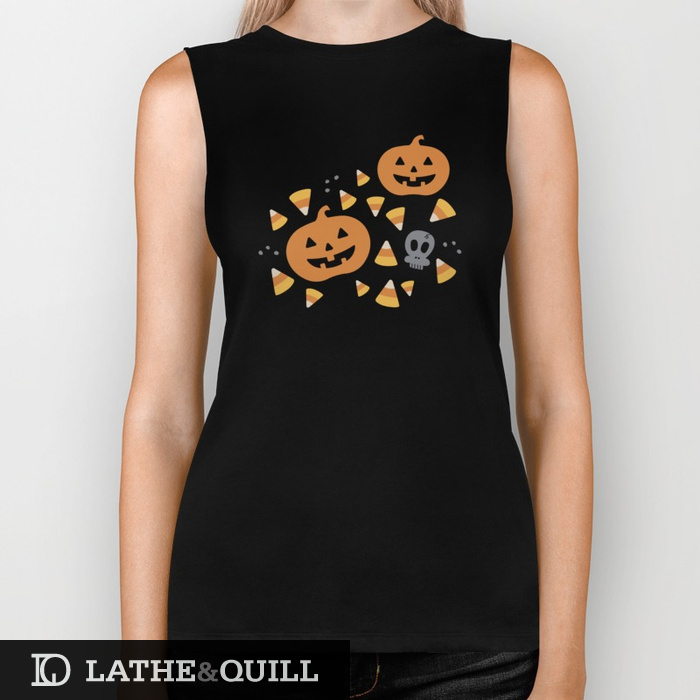 halloween pattern on a biker t shirt