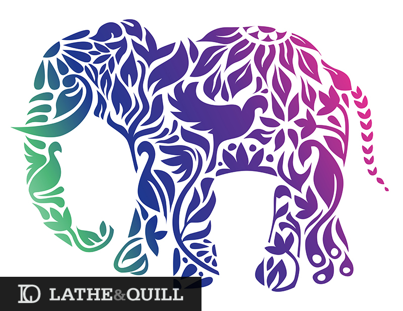 Vibrant gradient for Elephant in colorful florals