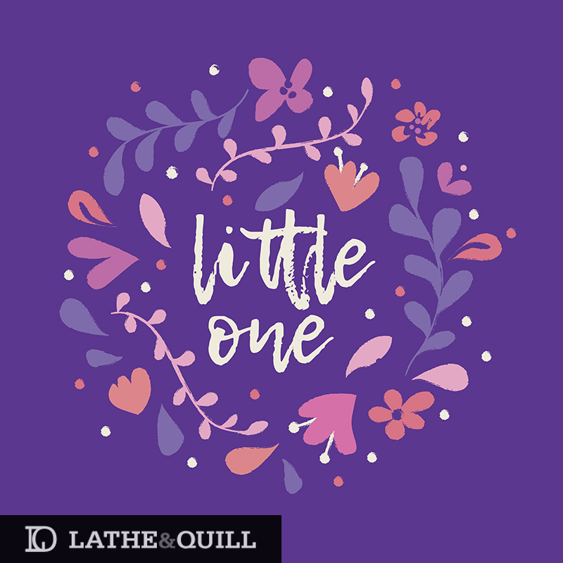 Little One text surrounded by florals