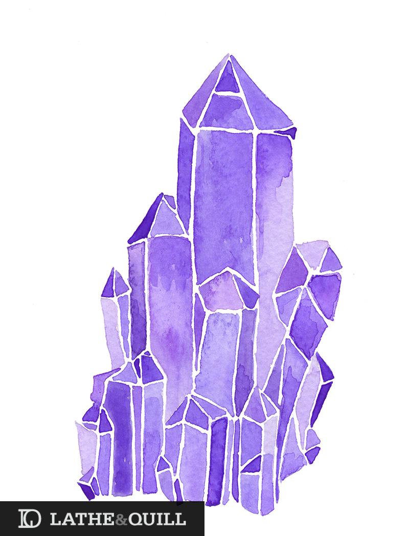 Quartz Gemstone watercolor in Purple