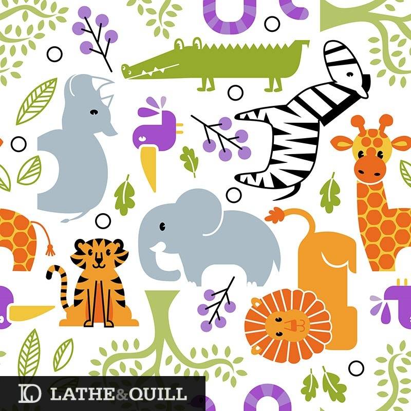 Cute and vibrant pattern of animals in the zoo