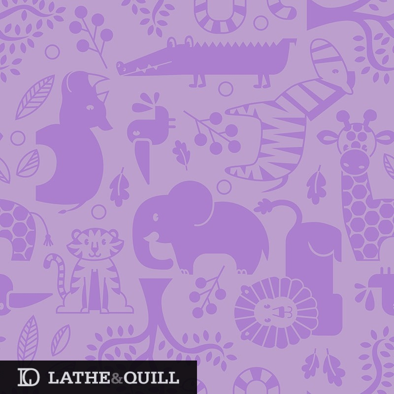 Cute baby girl pattern with violet and giraffe, zebra, rhino, elephant, tiger, alligator, lion, leaves, trees