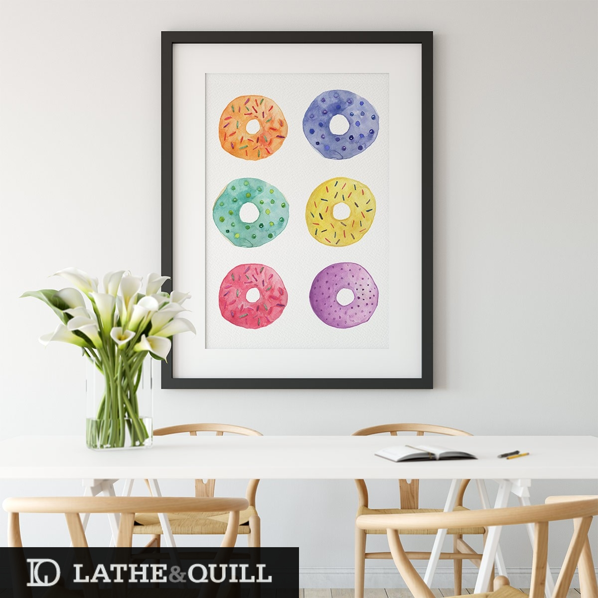 colorful doughnuts wall art