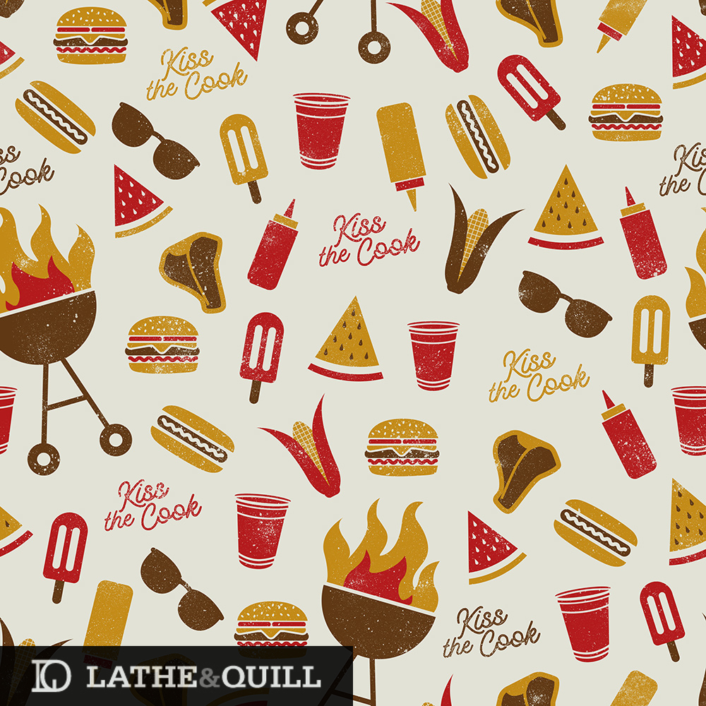Summer retro patter with food and tasties from summer barbecues