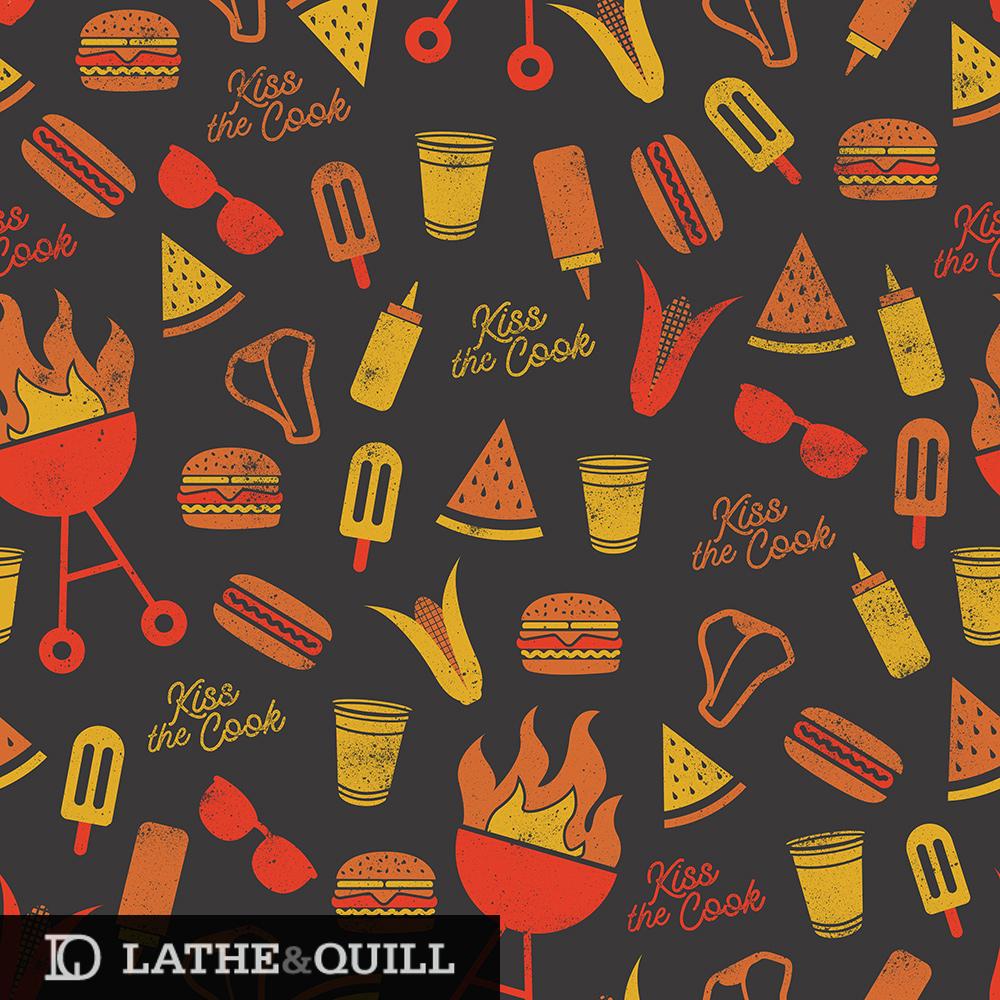 Pattern of grills, burgers, watermelon slices, burgers, corn, sunglasses, ketchup