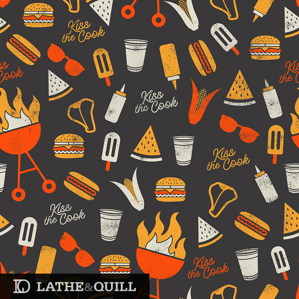 summer barbecue pattern with classic icons such as hot dogs, burgers, and watermelon